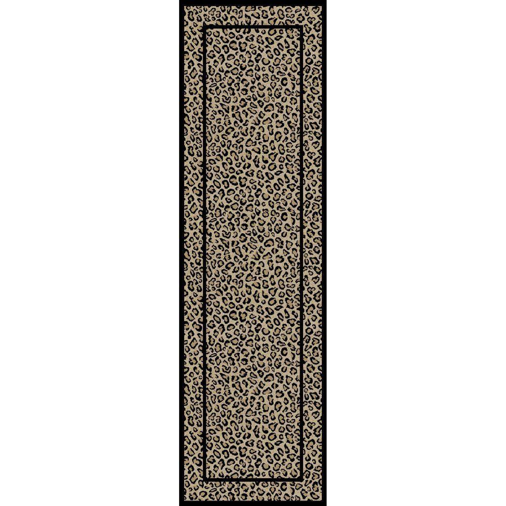 Jewel Leopard Beige 2 ft. x 8 ft. Runner Rug