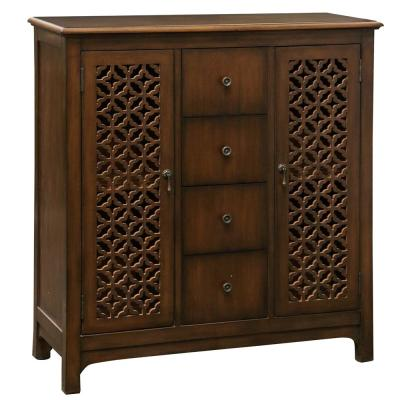 Lattice Cherry Warm Chocolate Brown and Antique Brass Accents Fretwork Cabinet