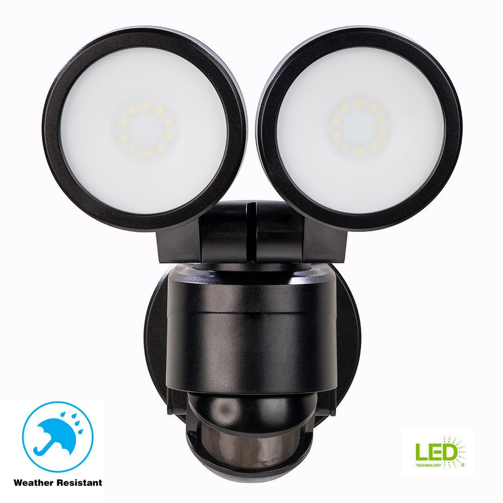 180 Degree Black Motion Activated Outdoor Integrated LED Twin Head Flood