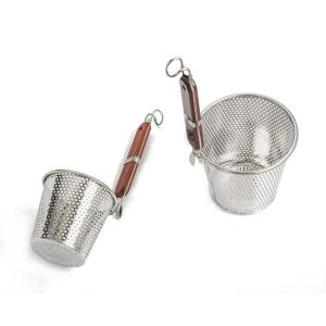 6.25 in. Stainless Steel Pasta Basket with Wood Covered Handles