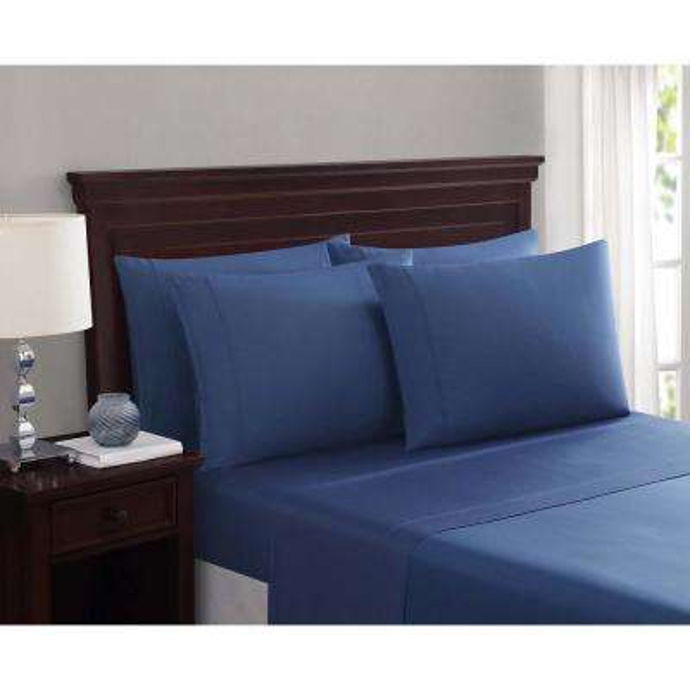 Everyday Cotton Blend Sheet Sets Slate Blue 6-Piece King Sheet Set