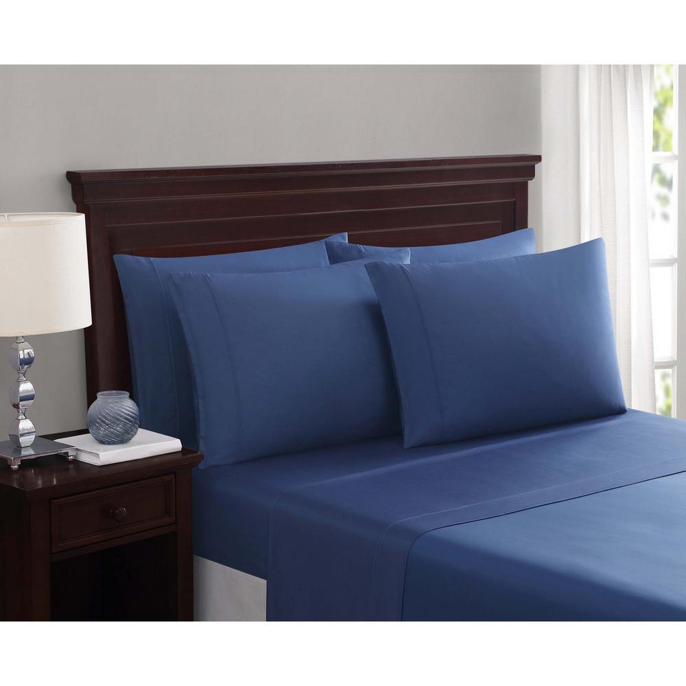 Everyday Cotton Blend Sheet Sets Slate Blue 6-Piece Queen Sheet Set