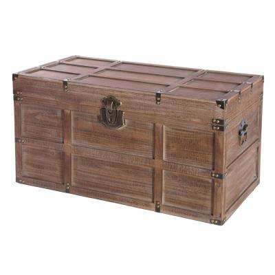 Wooden Rectangular Lined Rustic Storage Trunk with Latch, Large