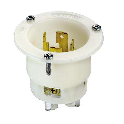 30 Amp 125/250-Volt Flanged Inlet Grounding Locking Outlet, White