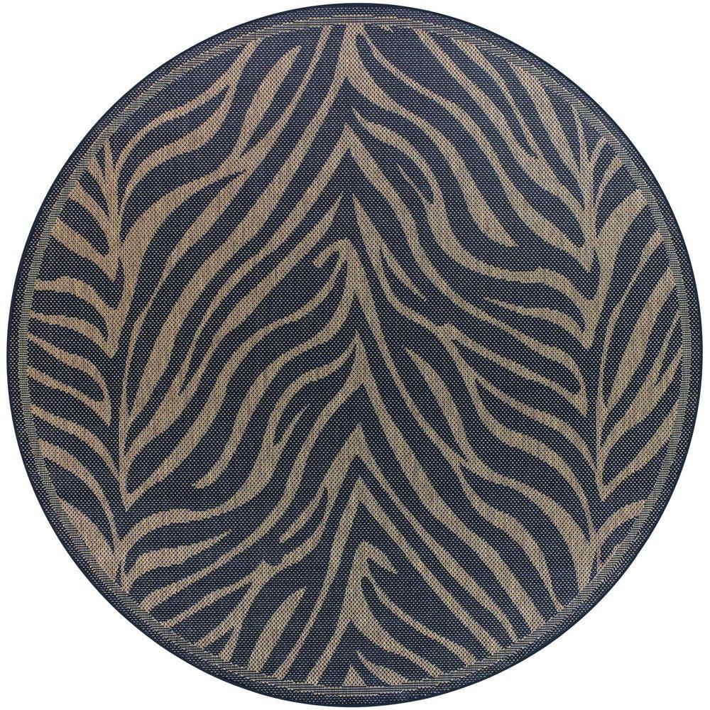 Recife Zebra Black Cocoa 9 Ft. X 9 Ft. Round Area Rug