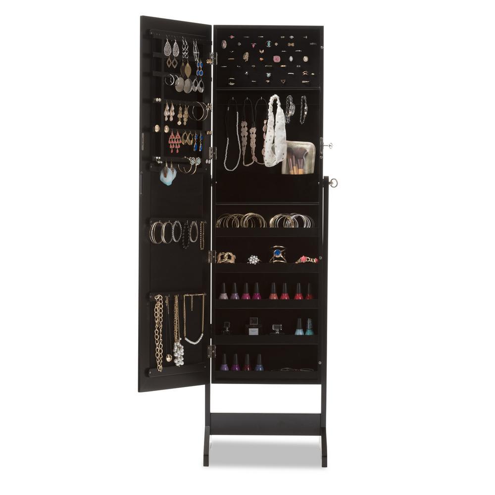 +5. Baxton Studio Alena Black Wood Jewelry Armoire