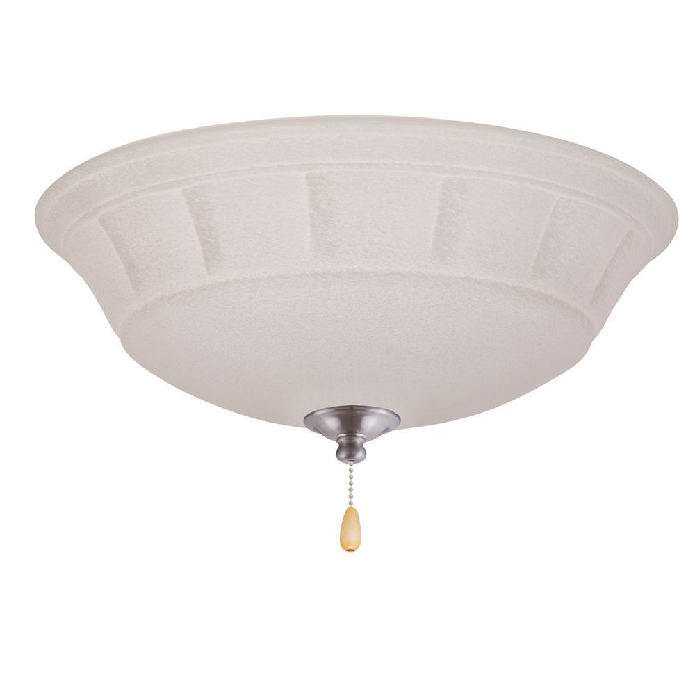 Grande White Mist 3-Light Brushed Steel Ceiling Fan Light Kit
