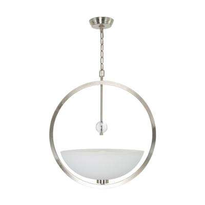 Sydney 1-Light Brushed Nickel Classic Chandelier Frosted with White Paint Inside Glass Shades
