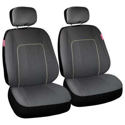 Journeyman Class Poly Flat Cloth 26 in. L x 30.7 in. W x 22.4 in. H Seat Cover Set in Gray