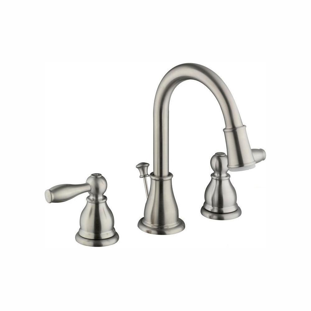 Mandouri 8 in. Widespread 2-Handle LED High-Arc Bathroom Faucet in Brushed Nickel