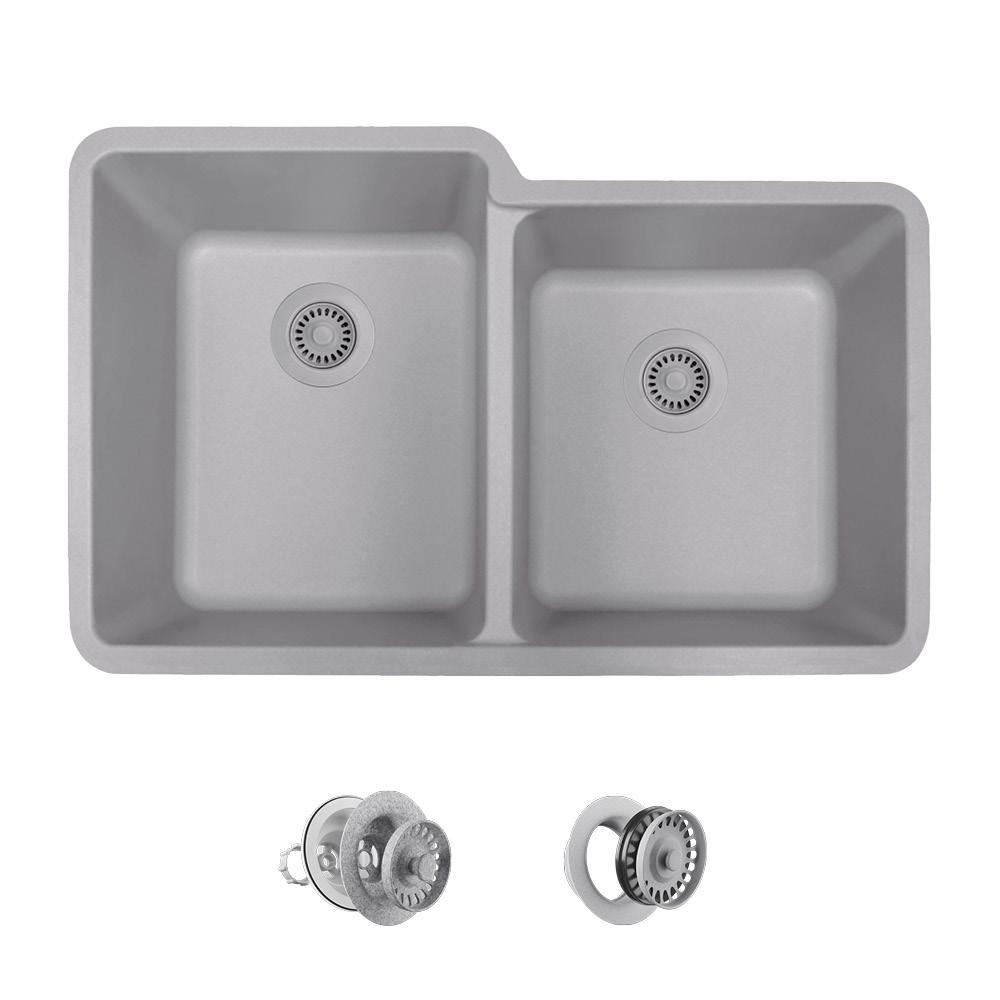 All In One Undermount Quartz 33 Double Bowl Kitchen Sink Silver