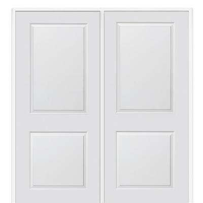 60 in. x 80 in. Smooth Carrara Right-Hand Active Solid Core Primed Molded MDF Double Prehung Interior Door