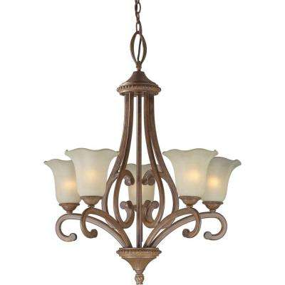 5-Light Rustic Sienna Bronze Chandelier with Shaded Umber Glass