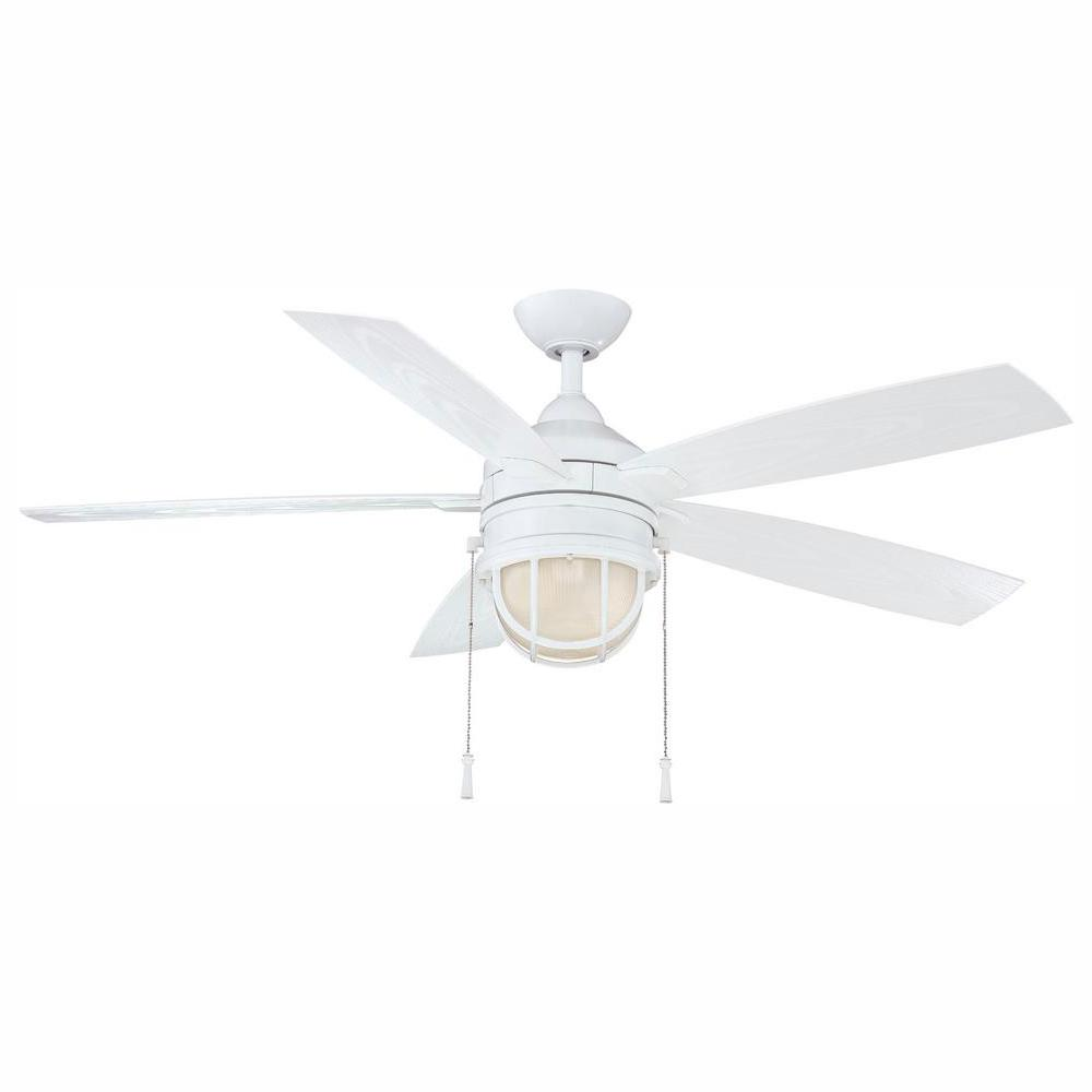 Hampton Bay Seaport 52 in. LED Indoor/Outdoor White Ceiling Fan