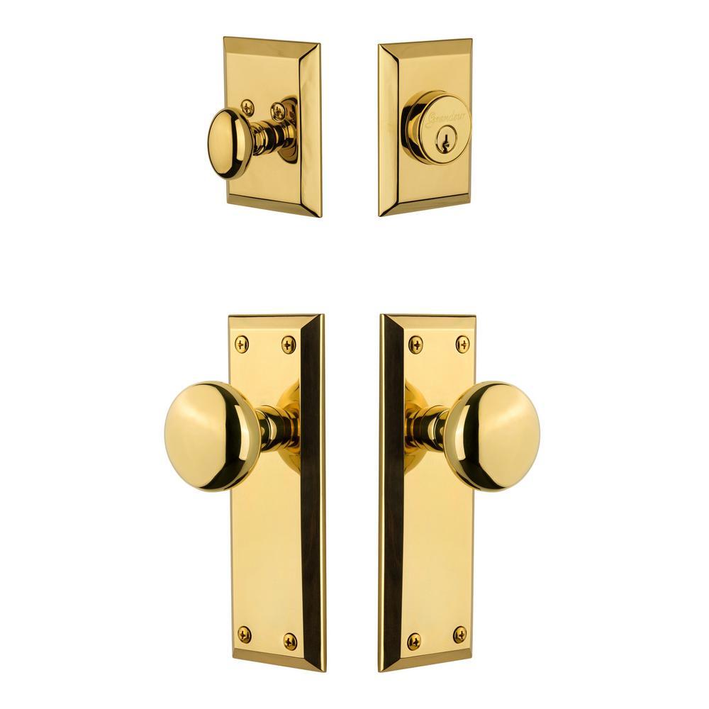 Fifth Avenue Plate 2-3/4 in. Backset Lifetime Brass Fifth Avenue Door Knob with Single Cylinder Deadbolt