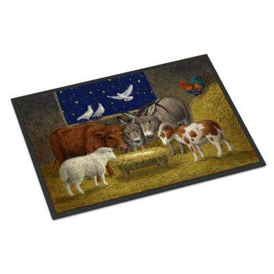 24 in. x 36 in. Indoor/Outdoor Animals at Crib Nativity Christmas Scene Door Mat