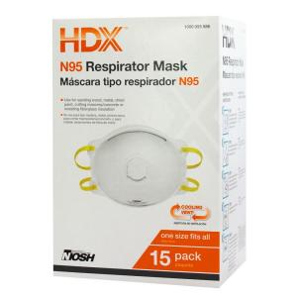 The Valve Disposable N95 Depot Respirator Home - Hdx -h950v Box 15-pack