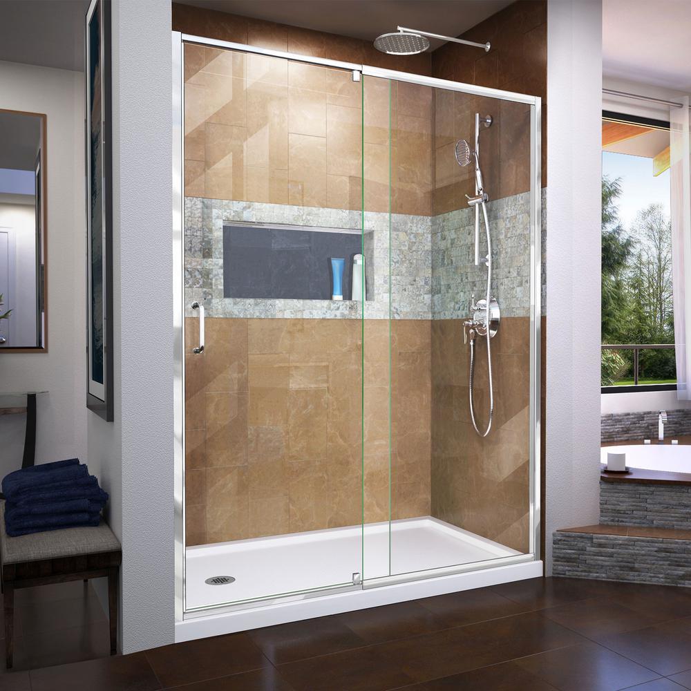 Flex 60 in. x 74.75 in. Semi-Frameless Pivot Shower Door in