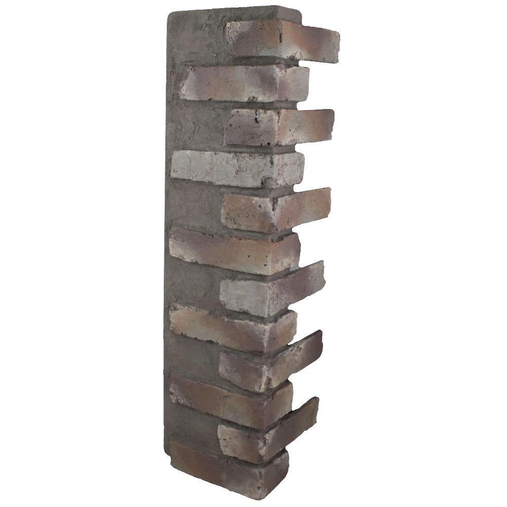 Mountain Grey 32-1/2 in. x 9-3/4 in. x 8-1/8 in. Faux Reclaimed Brick Outside Corner