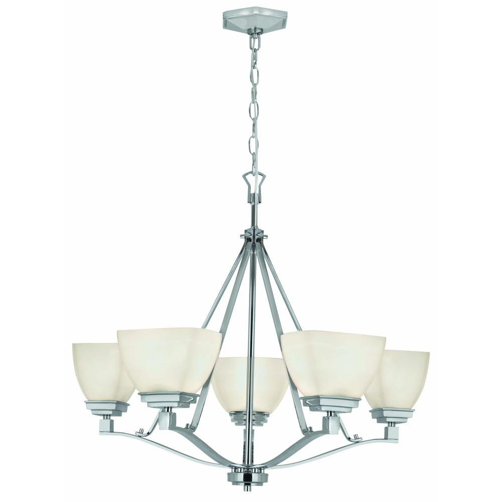 Home Decorators Collection Sydney 5 Light Polished Nickel Chandelier 27185 The Home Depot