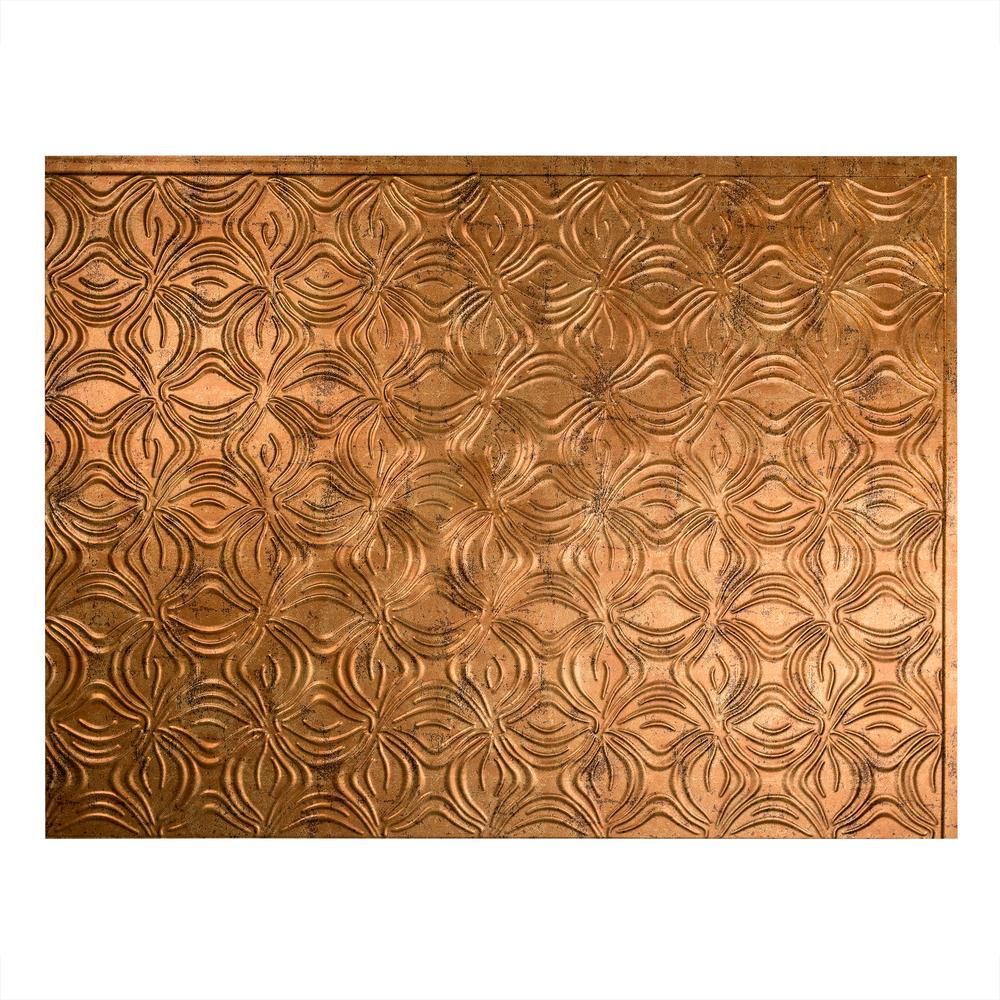 Lotus 18 in. x 24 in. Muted Gold Vinyl Decorative Wall