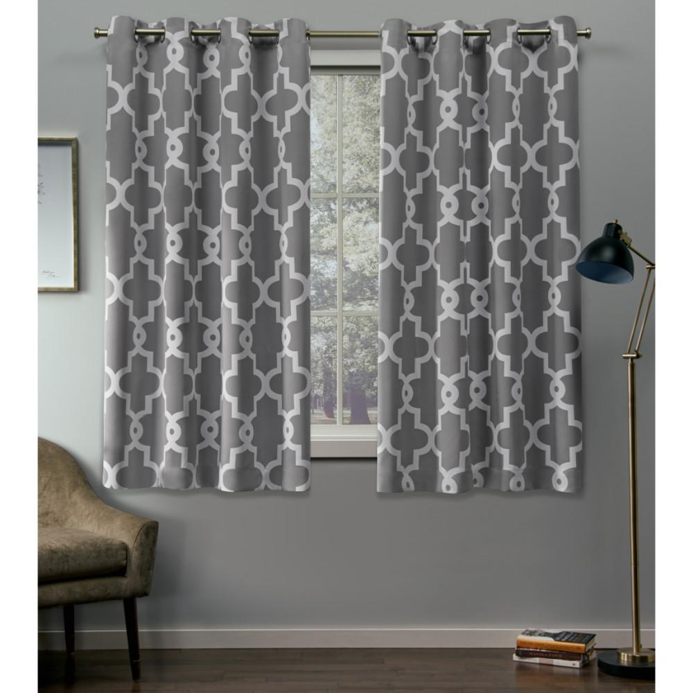 Exclusive Home Curtains Ironwork 52 In W X 63 L Woven Blackout Grommet Top Curtain Panel Silver 2 Panels