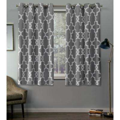 Ironwork 52 in. W x 63 in. L Woven Blackout Grommet Top Curtain Panel in Silver (2 Panels)