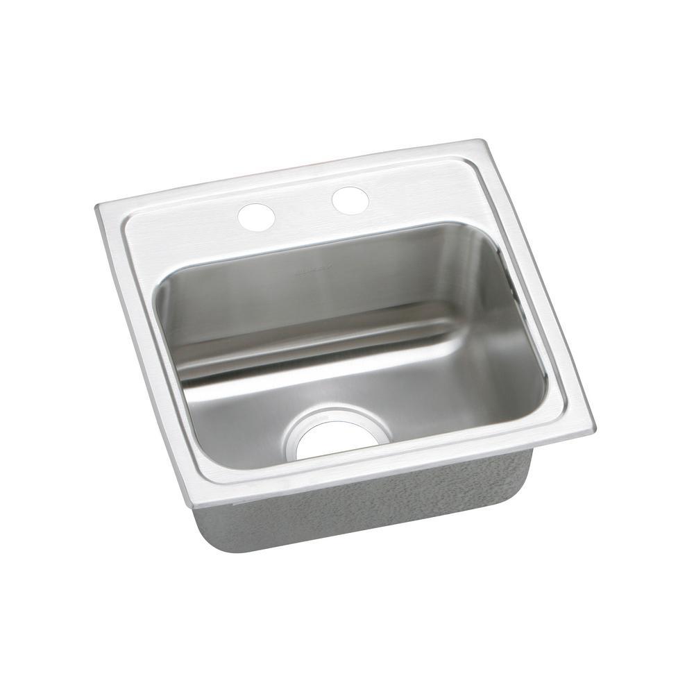 Lustertone Drop-In Stainless Steel 17 in. 2-Hole Single Basin Kitchen Sink