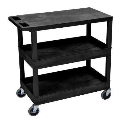 35.25 in. W x 18 in. D x 36.25 in. H 2 Tub and 1 Flat Shelf Utility Cart with 5 in. Casters in Black