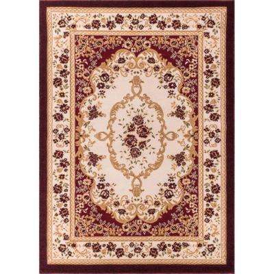 Dulcet Versaille Red 9 ft. x 13 ft. Traditional Area Rug