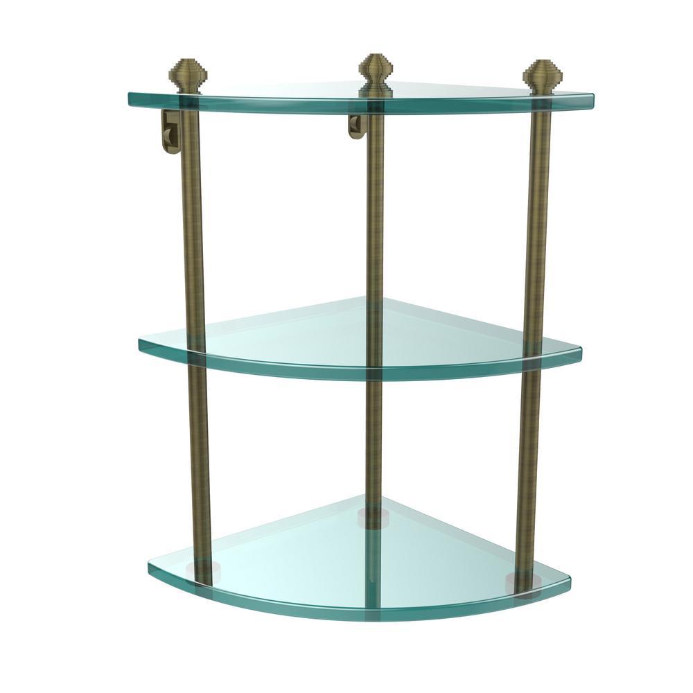 Allied Brass Southbeach Collection 8 in. 3-Tier Corner Glass Shelf ...