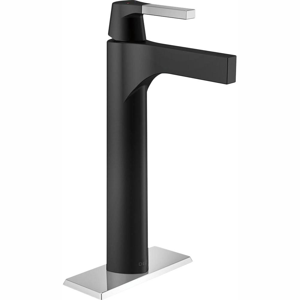 Delta Zura Single Hole Single Handle Vessel Bathroom Faucet In Chrome Matte Black 774 Cs Dst The Home Depot