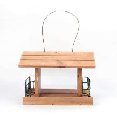 12 in. Red Cedar Wood Long Cottage Double Suet Bird Feeder