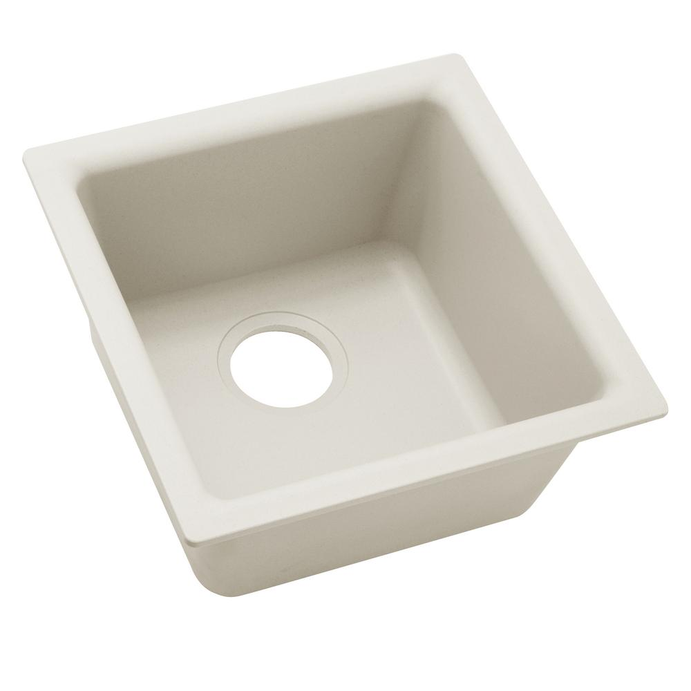 Merveilleux Premium Quartz Drop In/Undermount Composite 16 In. Bar Sink In Ricotta
