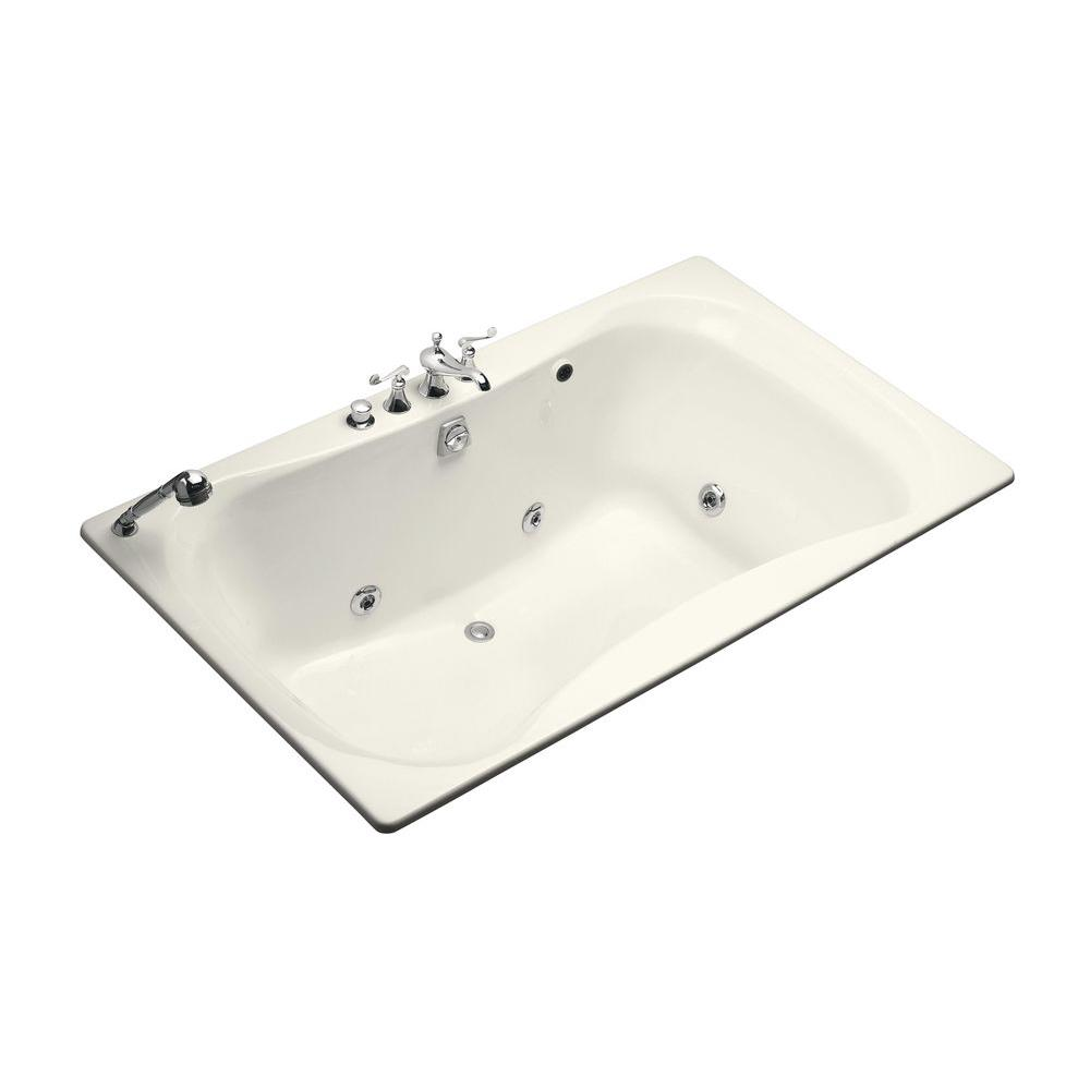 KOHLER Infinity 6 ft. Whirlpool Tub with Center Drain in Biscuit-DISCONTINUED