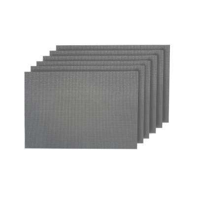 Natural Shimmer Silver Woven Textilene Reversible Square Placemats (Set of 6)