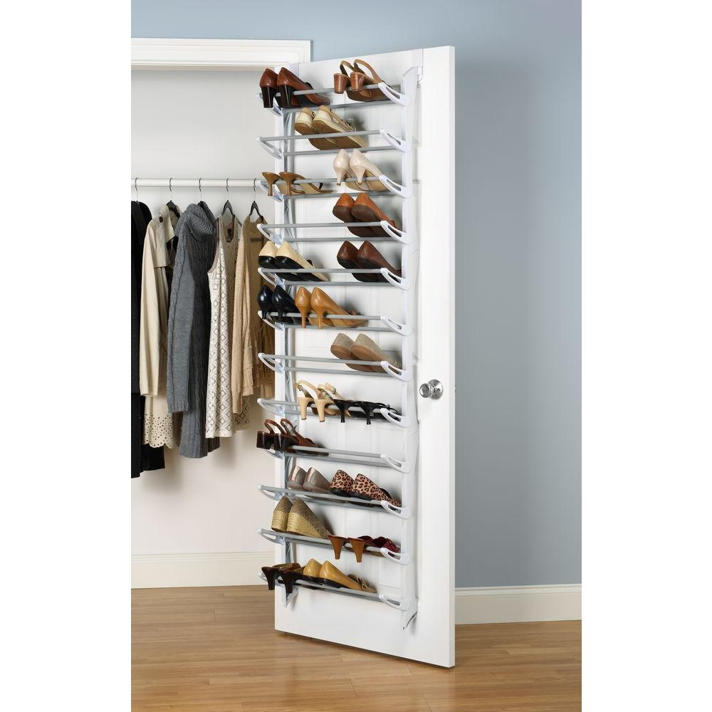 Behind Door Shoe Storage.Whitmor Shoe Rack Collection 22 63 In X 74 50 In 36 Pair Resin Over The Door Shoe Organizer In White