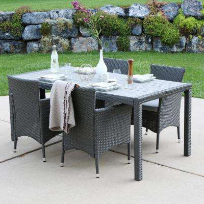 Gray Rattan 5-Piece Outdoor Dining Set with Gray Cushions
