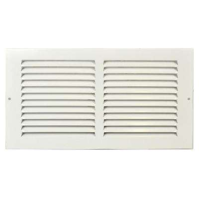 12 in. x 8 in. White Flat Return Air Steel Grille