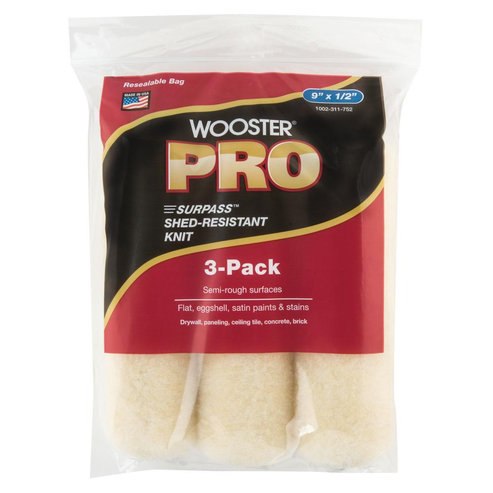 Wooster 9 in. x 1/2 in. Pro Surpass Shed-Resistant Knit High-Density Fabric Roller Cover (3-Pack)