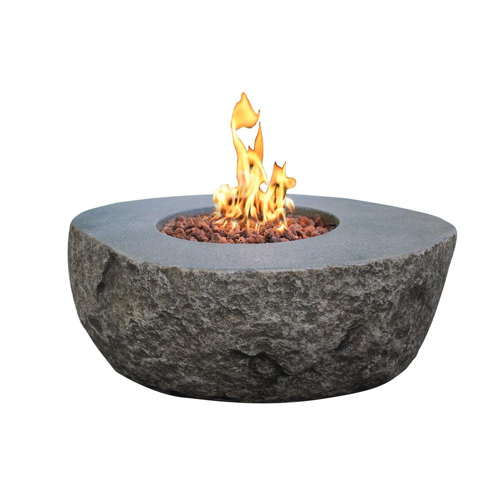 Elementi Boulder 35 in. x 16 in. Round Concrete Propane Fire Pit Table with Burner and Lava Rock
