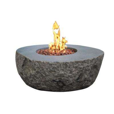 Boulder 35 in. x 16 in. Round Concrete Natural Gas Fire Pit Table with Burner and Lava Rock