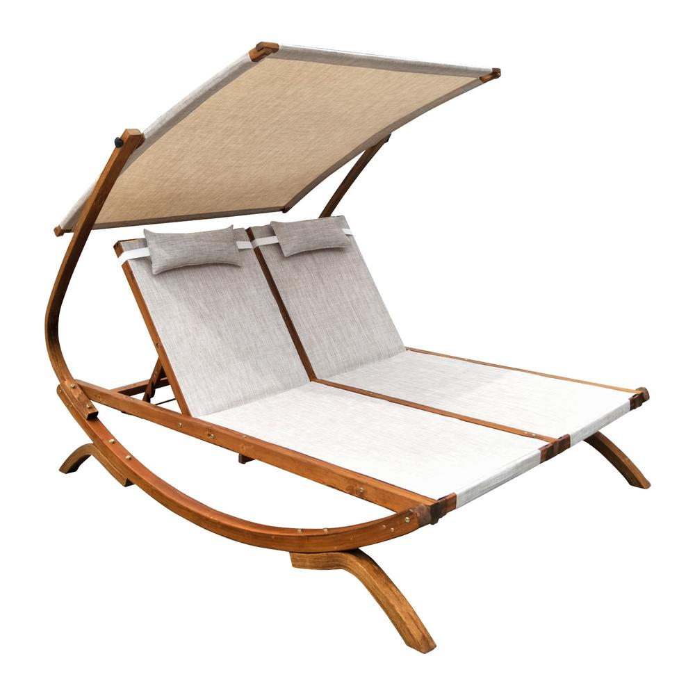Leisure Season 76 in. W x 61 in. D x 59 in. H Brown Double Reclining Wooden Patio Lounge Chair with Canopy and Beige Cushions