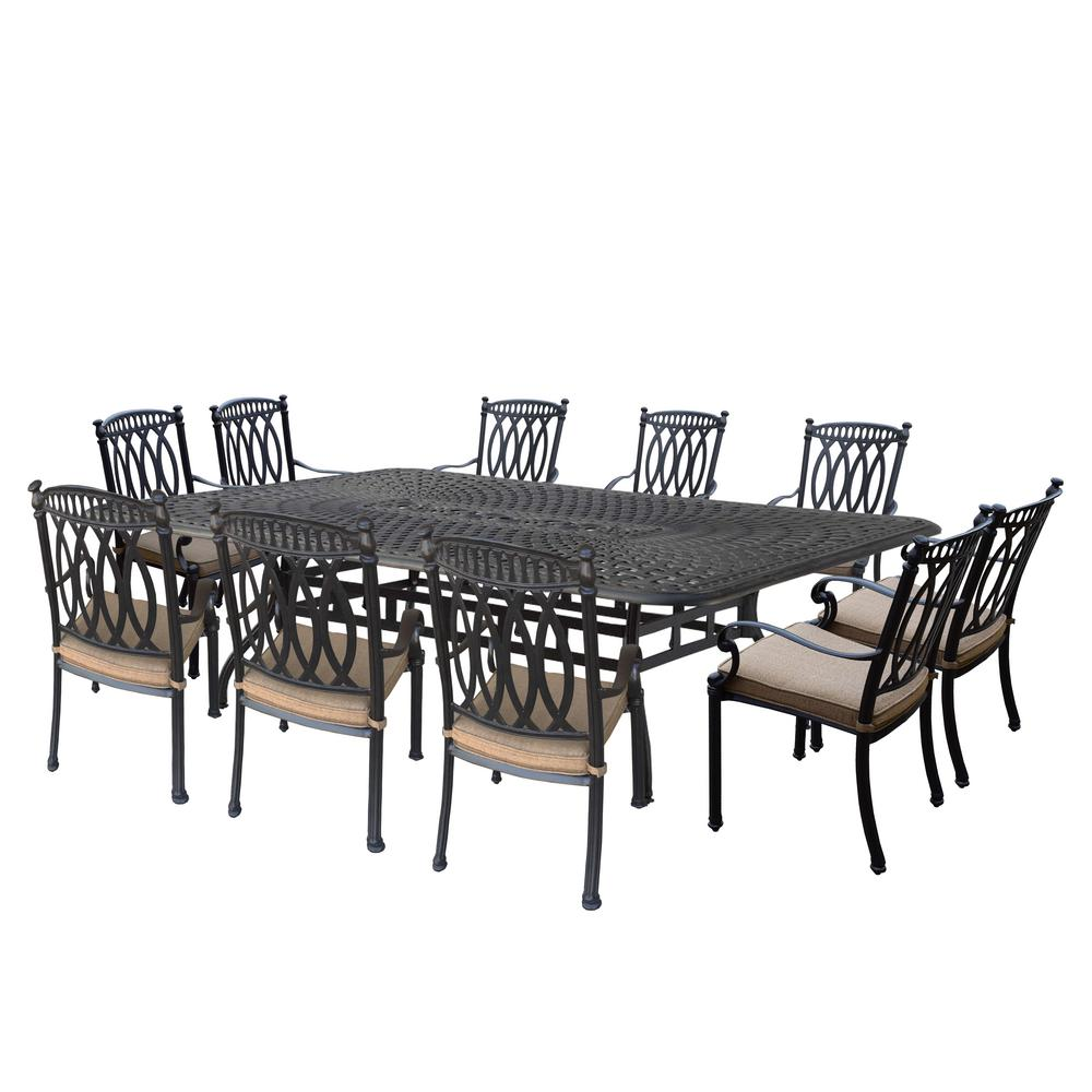 Morocco Aluminum 11 Piece Outdoor Dining Set With Sunbrella Beige Cushions Hd7217t 7215c10 D56 21 Ab The Home Depot