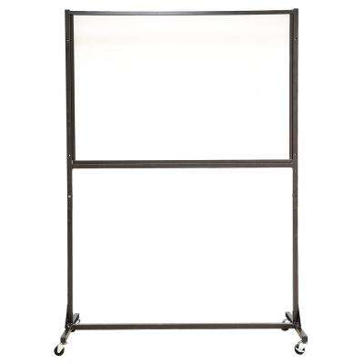 48 in. x 68 in. x 1 in. Protective Sneeze Plexi Shield - SCO with Wheels