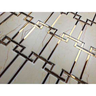 10 in. x 11 in. Nature Sandstone Beige Versailles Beige Decorative Glass and Acrylic Wall Tile (19.5 sq. ft. / case)