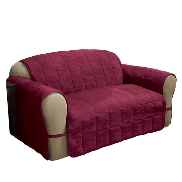 Innovative Textile Solutions Burgundy Ultimate Faux Suede Sofa Protector ULTSOFABURG