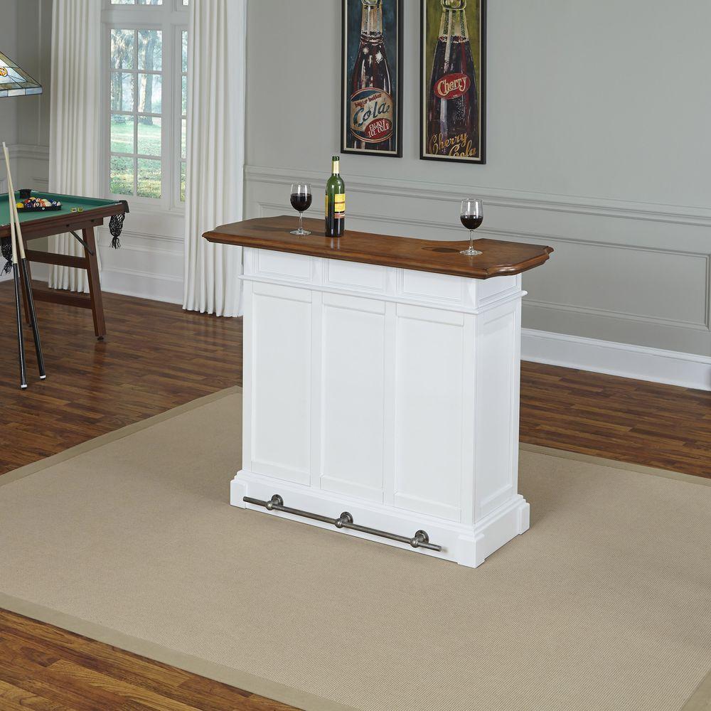 Home Styles Americana 4 Shelf White And Oak Bar With Foot Rail