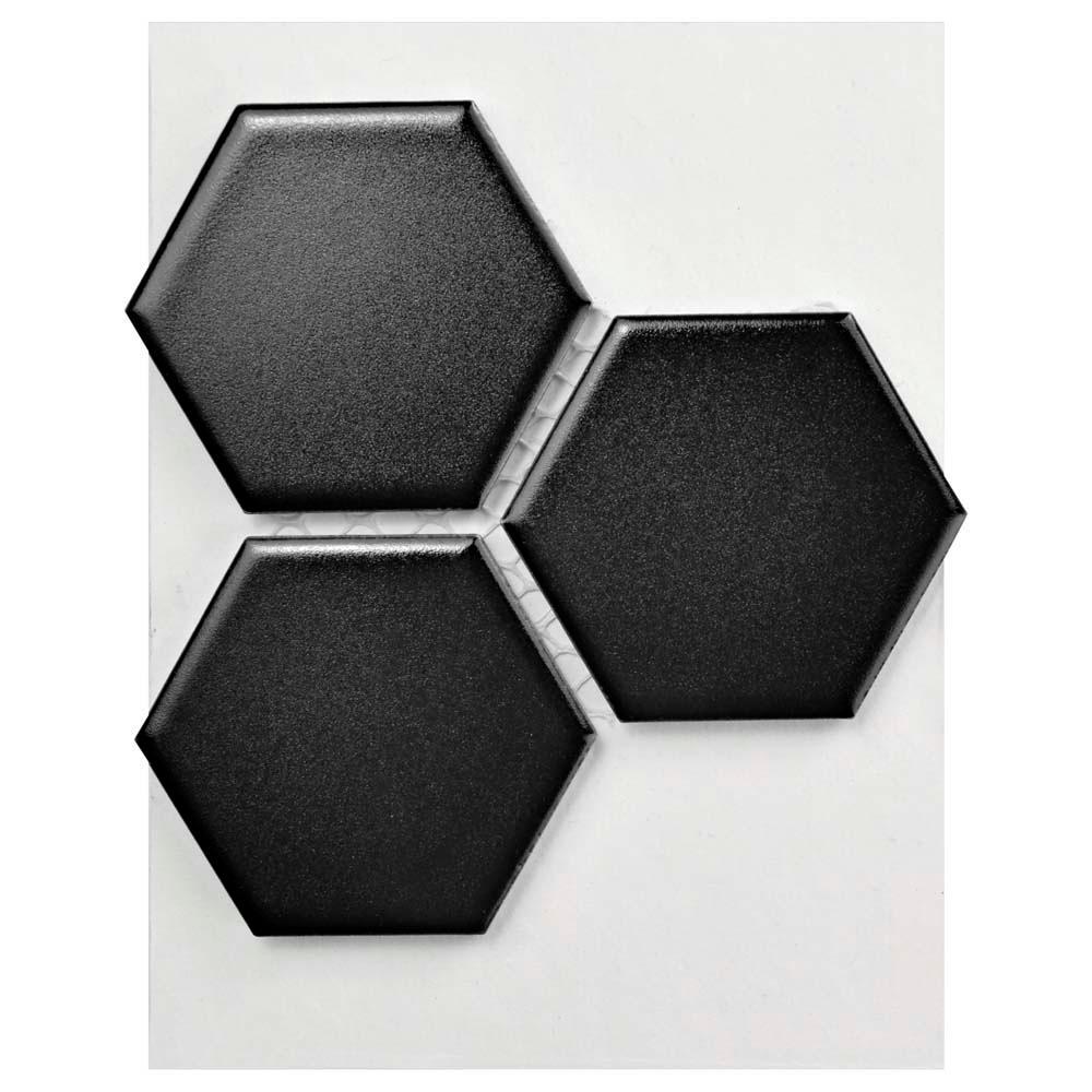 Metro Hex 2 in. Matte Black Porcelain Mosaic Tile - 3 in. x 4 in. Tile Sample