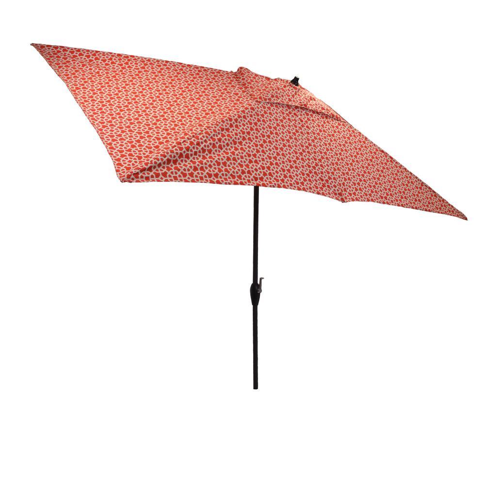 10 ft. x 6 ft. Aluminum Market Patio Umbrella in Ruby Geo with Push-Button Tilt
